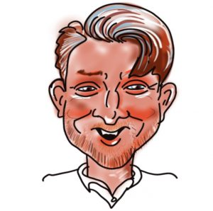 Caricature of Andy West, Kingsley Roofing admin team