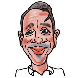 Caricature of James Macdonald, Kingsley Roofing estimator